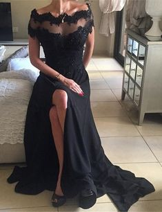 Off Shoulder Prom Dresses, Prom Dresses with Short Sleeves ,Black Prom Dress, Sexy Prom Dresses,Lace Prom Dresses