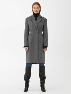 Fitted Wool Blend Coat - Black/Grey - Jackets & Coats - ARKET GB Best Winter Coats, Winter Coats Women, Tonga, Brunei, Georgia, Social Media Plattformen, Boucle Coat, Faux Shearling Coat, Gray Jacket