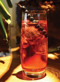 Pink Blossom Port Cocktail: Croft Pink Port; Germain Elderflower Liqueur; Sparkling Wine; Fresh Raspberries or Blueberries