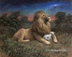 The Lamb and the Lion=Jesus Christ (Yahweh) -Jon McNaughton Musical Rey Leon, Jon Mcnaughton, Lion And Lamb, Lion Painting, Litho Print, Prophetic Art, Biblical Art, Lion Of Judah, Lion Art
