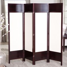 Griffin Canvas 4 Panel Room Divider - Rosewood $139.98