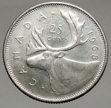 1968 CANADA United Kingdom Queen Elizabeth II Silver 25 Cent Coin CARIBOU i56666