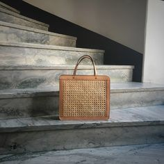 Palmgrens classic rattan bag in undyed calf leather.