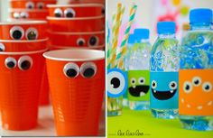 Kids can Decorate thier own cup with their name on it. Birthday Party Design, 1st Birthday Parties, Birthday Party Decorations, Monster Party, Monster University Birthday, Bar A Bonbon, Party World, Fiesta Decorations, Fiesta Party