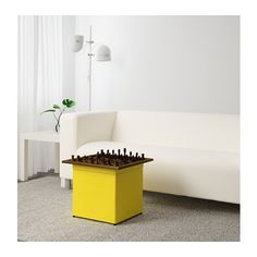 BOSNÄS bangku kaki dengan penyimpanan, Ransta kuning | IKEA Indonesia Fabric Ottoman, Yellow Storage, Storage Footstool, Ikea Family, Small Loft, Ikea Bathroom, Extra Seating, Apartment Interior, Yellow
