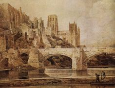Girtin, Thomas (1775-1802) - Durham Cathedral & Bridge. #england