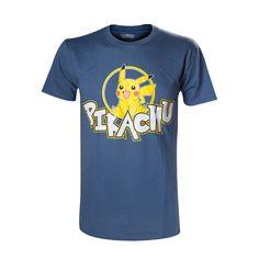 Pokémon - Smiling Pikachu heren unisex T-shirt blauw - Televisie anim