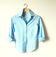 1960s Pale Blue Button Down Blouse / Retro Pastel Blue Top / Vintage Pale Blue Collared Blouse