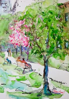 """Daily Paintworks - """"canopy"""" - Original Fine Art for Sale - © Nora MacPhail Watercolor Pencil Art, Watercolor Art Paintings, Watercolors, Cherry Blossom Tree, Blossom Trees, Urban Sketching, Urban Landscape, Fine Art Gallery, Art Tutorials"""