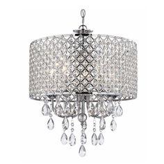 Ashford Classics Lighting Crystal Chrome Chandelier Pendant Light with Crystal Beaded Drum Shade | 2235-26 | Destination Lighting