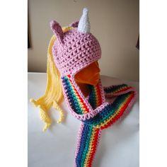 Adventure Time LADY RAINICORN crochet hat LONG ($48) ❤ liked on Polyvore