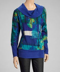 Take a look at this Blue & Green Graphic Cowl Neck Sweater by Zoé Collection on #zulily today!
