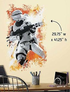 Star Wars The Force Awakens: Flame Trooper Wall Sticker Quirky Gifts, Wall Sticker, Star Wars, Stickers, Anime, Movie Posters, Art, Art Background, Film Poster
