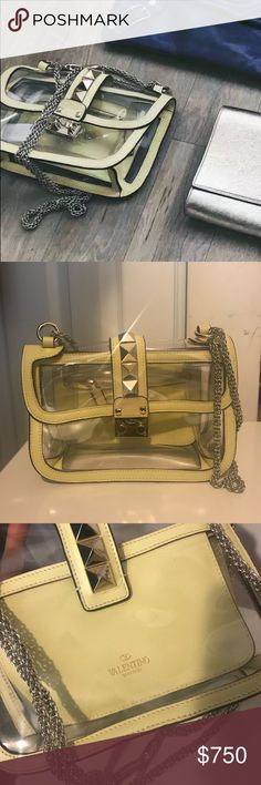 """Authentic Valentino rockstud PVC lock bag Bag only. No duster. Signature design with sleek chain strap and iconic studs Chain strap, 12"""" drop doubled, 24"""" drop extended Push-lock flap closure silver hardware. One inside zip pocket. Leather lining 10.5""""W X 7""""H X 2.75""""D. Made in Italy. Color: Yellow Valentino Bags Shoulder Bags"""