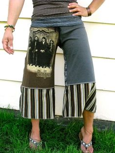 GAUCHOS upcycled tee shirts yoga fit  wide leg  earthy by zasra