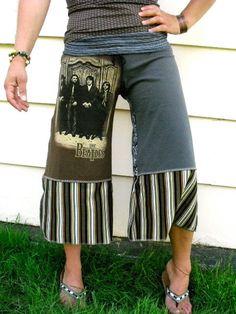 GAUCHOS upcycled tee shirts yoga fit  wide leg  earthy by zasra