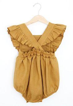 Handmade Mustard Yellow Linen Vintage Style Baby Romper | RockyRacoonApparel on Etsy