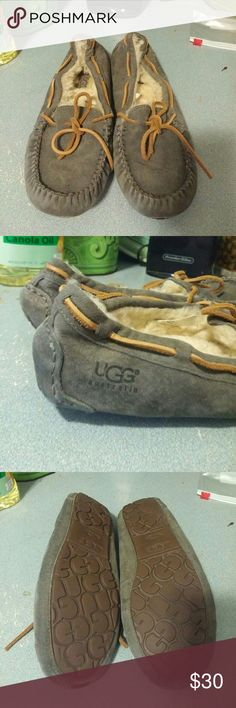Ugg Dakota Grey Suede Mocassin sz 8 Ugg Dakota Grey Suede Mocassin sz 8  Worn. Lots of life left. Shows signs of wear on soles. Many more years of wear left in these.  Freshly cleaned. Very fluffy on the inside..  Priced for condition. UGG Shoes Moccasins