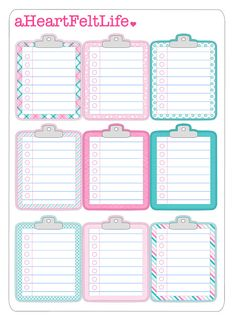 Pretty Pink & Blue Clipboard Sticker Set +Add a little fun and creativity to your life with these stickers! Perfect for use in planners,