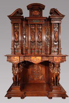 Exceptionnel Neo-Renaissance Cabinet aux « Quatre Saisons » by H.-A. Fourdinois Ebéniste (1830-1907); Signé « Meubles D'Art, M. Lerolle, Fabricant, 61, Rue des Sts-Peres. Paris »   France  Circa 1890