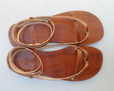 Delicate And Stylish Double Ankle Strap Leather Sandals by Calpas