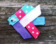 Kite Hair Clip Pink and White Kite Ribbon Hair Clip by leilei1202