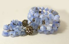 Miriam Haskell Early Blue Givre and Art by VintageLaneJewelry