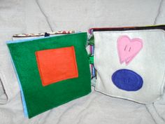 Match Heart and Oval with heart and Oval on page  Shape can store in pocket provided