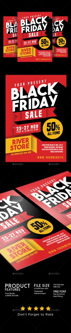Black Friday Flyer Template PSD #design Download   - computer repair flyer template