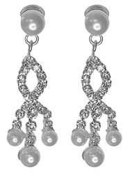 Pearl Rhinestone Earrings. Our Crossed Waterfall Rhinestone Dangle Earrings feature beautiful faux pearls and sparkling rhinestones. Earrings are about 1 & 1/8 long. Earrings are Silver Plated Brass. Earring backs are barrel type with hypo-allergenic posts.#earrings#long earrings#dangle earrings#bridal earrings#bridal jewelry#bridesmaids jewelry#bridesmaids earrings#rhinestone earrings prom earrings#earrings for prom#wedding earrings#silver earrings#pearl# pearl earrings