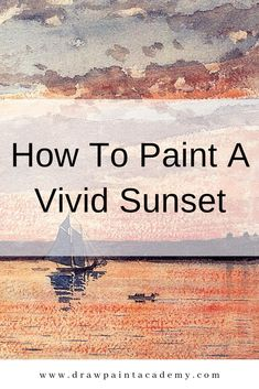 Want to learn how to paint a sunset? Check out these tips for creating that vivid sunset and some master painting examples. Oil Painting For Beginners, Acrylic Painting Techniques, Painting Lessons, Art Techniques, Painting & Drawing, Watercolor Sky, Watercolor Paintings, Sunset Paintings, Acrylic Painting Tutorials