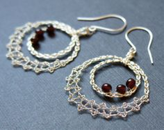 lacey pendant with garnet red beads | JaKiGu