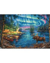 """Gold Collection Northern Night Counted Cross Stitch Kit-16""""X11"""" 14 Count"""