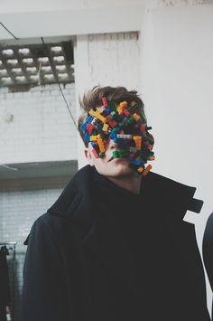 Lego masks backstage at Agi & Sam AW15 LCM