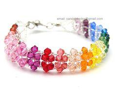 Pulsera arco iris; pulseras de cristal; Pulsera de Swarovski; Pulsera de cristal; Arco iris del espectro twisty pulseras de cristal Swarovski