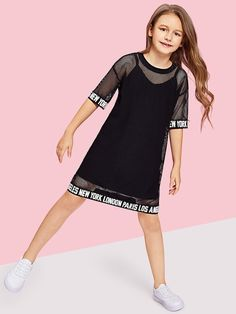 To find out about the Girls Letter Hem Mesh Sheer Dress at SHEIN, part of our latest Girls Dresses ready to shop online today! Dresses Kids Girl, Kids Outfits Girls, Cute Girl Outfits, Girls Fashion Clothes, Little Girl Fashion, Cute Summer Outfits, Teen Fashion, Cute Dresses, Cool Outfits