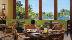 Next stop, Ritz in Mauii- The Terrace Restaurant offers chef-crafted dinners in the evening and daily breakfast while overlooking the pool and the Pacific Ocean.