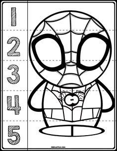 Spider-Man #1-5 Counting Puzzle | Black & White Version - preKautism.com Preschool Lesson Plans, Kindergarten Activities, Preschool Activities, Spring Activities, Outdoor Activities, Spiderman Craft, Spiderman Theme, Superhero Preschool, Superhero Classroom