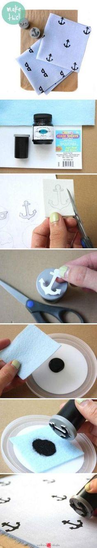 DIY Stamp + Ink pad fabric stamping