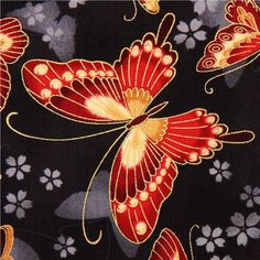 black Japanese butterfly fabric Robert Kaufman USA