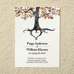 Fall / Autumn Wedding Save-the-Date - Rustic Woodland Tree - DIY Printable PDF Template - Orange