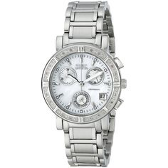 Invicta II Collection Limited Edition Diamond Chronograph Watch ($129) ❤ liked on Polyvore featuring jewelry, watches, wide cuff bracelet, chronograph watches, leather strap bracelet, bezel watches and leather-strap watches