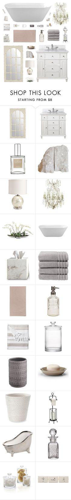 """Retro Romantic Bathroom Decor"" by belenloperfido ❤ liked on Polyvore featuring interior, interiors, interior design, home, home decor, interior decorating, Avanity, Ballard Designs, Flamant and Waterworks"