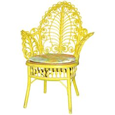 Antique Yellow Painted Wicker Fiddelhead Chair at 1stdibs ❤ liked on Polyvore