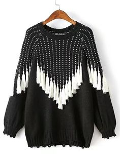 1f9414b4339c00  Twotwinstyle  2016 Autumn Winter Tassels Black Hit White Pullover Knitted  Hoodies Sweatshirt Women New Clothing Fashion