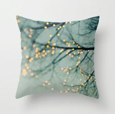 Pillow Case - Tree Lights - Nature Home Decor - Blue - Pillow Cover  - Fine Art Pillow - 18x18
