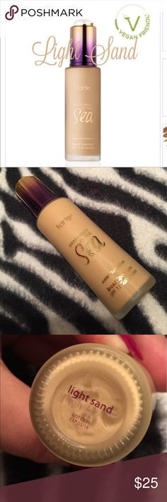TARTE ~ RAINFOREST OF THE SEA WATER FOUNDATION TARTE ~ RAINFOREST OF THE SEA WATER FOUNDATION ~ SHADE IS LIGHT SAND (FOR LIGHT SKIN WITH YELLOW UNDERTONES) ~ 💯% AUTHENTIC ~ LESS THAN 1/4th USED ~ EXP 03/2018 tarte Makeup Foundation