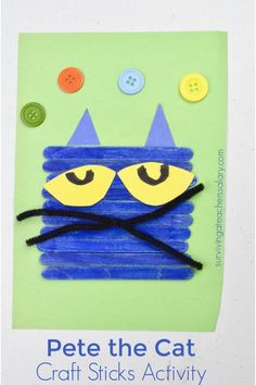 This Pete the Cat activity is perfect for preschool and kindergarten students. Build your own Pete the Cat face with this craft sticks activity! Pete The Cat Art, Pete The Cat Shoes, Popsicle Stick Crafts, Craft Stick Crafts, Craft Sticks, Craft Kids, Quick Crafts, Classroom Crafts, Preschool Crafts