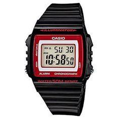 #reloj #casio de caja y correa de alto brillo con alarma, cronómetro, resistente al agua 5 atmósferas y luz Led.
