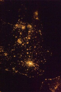 Night time view of England from International Space Station.